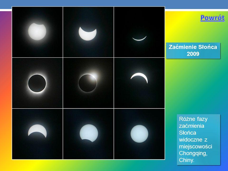Różne fazy zaćmienia Słońca widoczne z miejscowości Chongqing, Chiny. Zaćmienie Słońca 2009