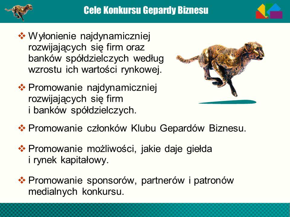 Cele Konkursu Gepardy Biznesu Wyłonienie najdynamiczniej rozwijających się firm oraz banków spółdzielczych według wzrostu ich wartości rynkowej. Promo