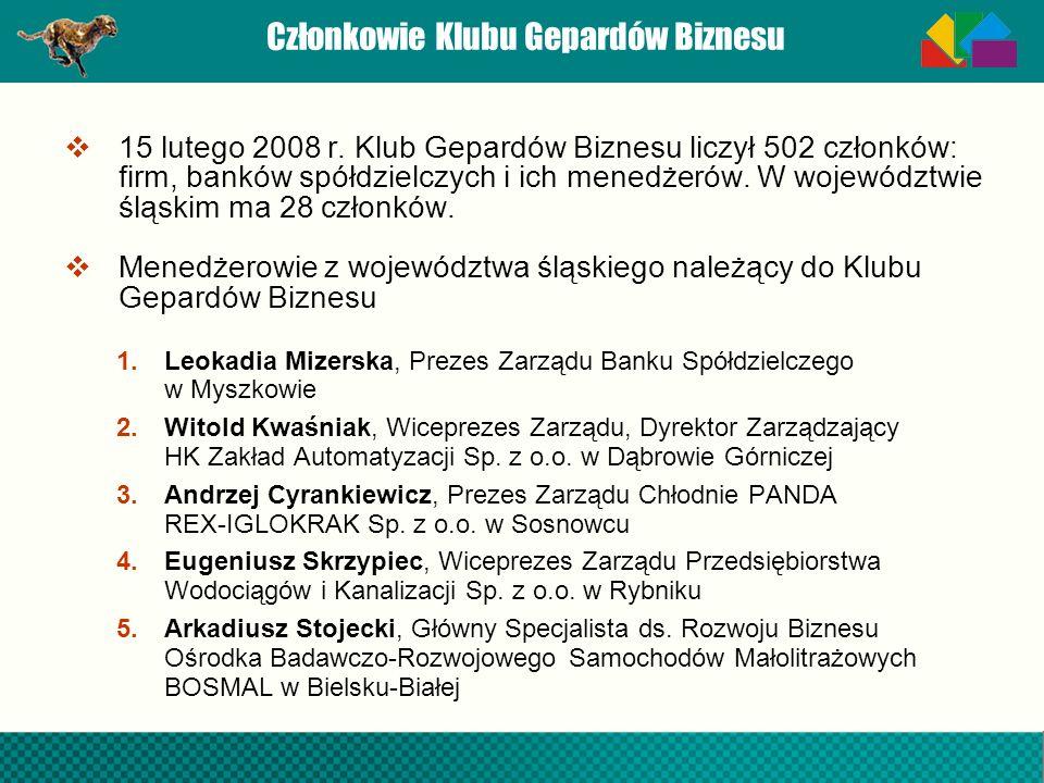 Członkowie Klubu Gepardów Biznesu 15 lutego 2008 r. Klub Gepardów Biznesu liczył 502 członków: firm, banków spółdzielczych i ich menedżerów. W wojewód