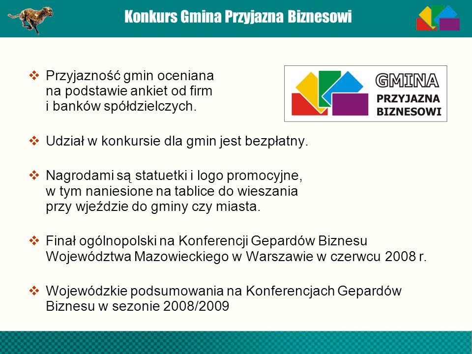 Konkurs Gmina Przyjazna Biznesowi Przyjazność gmin oceniana na podstawie ankiet od firm i banków spółdzielczych. Udział w konkursie dla gmin jest bezp