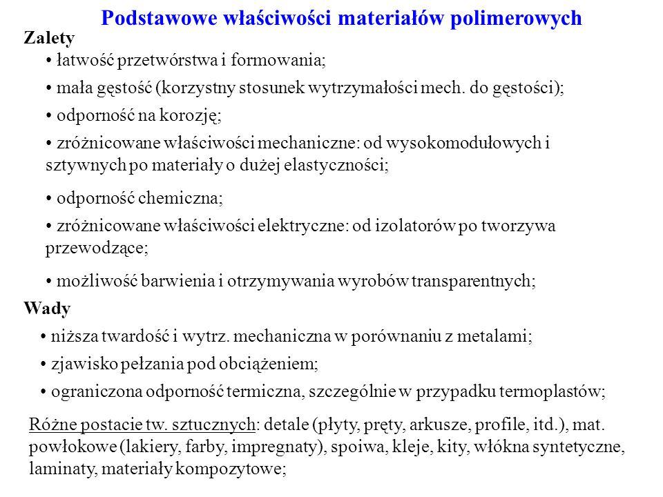 Podstawowe właściwości materiałów polimerowych Różne postacie tw.