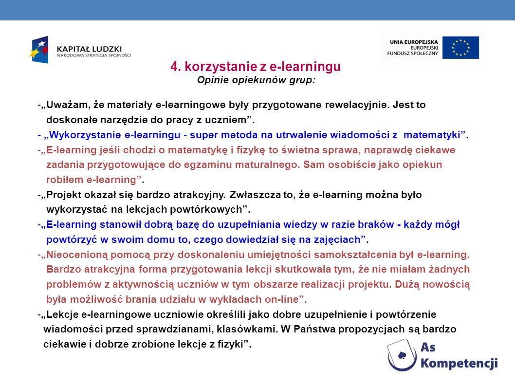 4. korzystanie z e-learningu Opinie opiekunów grup: -Uważam, że materiały e-learningowe były przygotowane rewelacyjnie. Jest to doskonałe narzędzie do