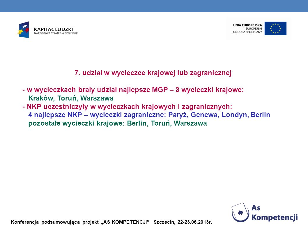 Konferencja podsumowująca projekt AS KOMPETENCJI Szczecin, 22-23.06.2013r. 7. udział w wycieczce krajowej lub zagranicznej - w wycieczkach brały udzia
