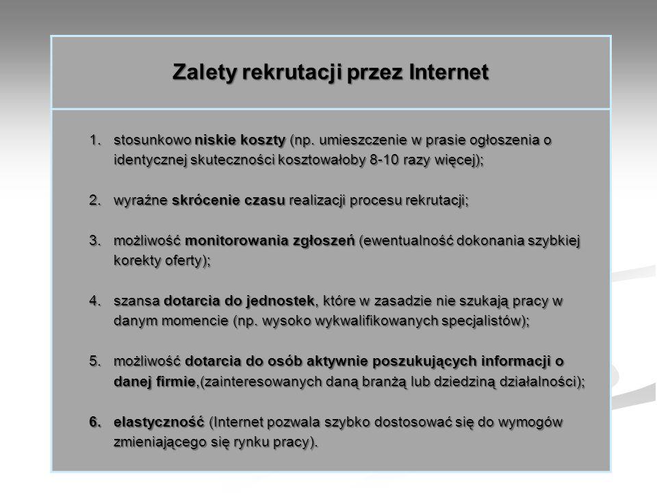 Zalety rekrutacji przez Internet 1.stosunkowo niskie koszty (np. umieszczenie w prasie ogłoszenia o identycznej skuteczności kosztowałoby 8-10 razy wi