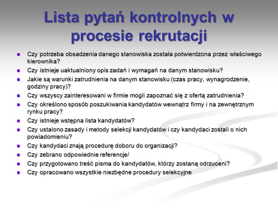 Lista pytań kontrolnych w procesie rekrutacji Czy potrzeba obsadzenia danego stanowiska została potwierdzona przez właściwego kierownika? Czy potrzeba