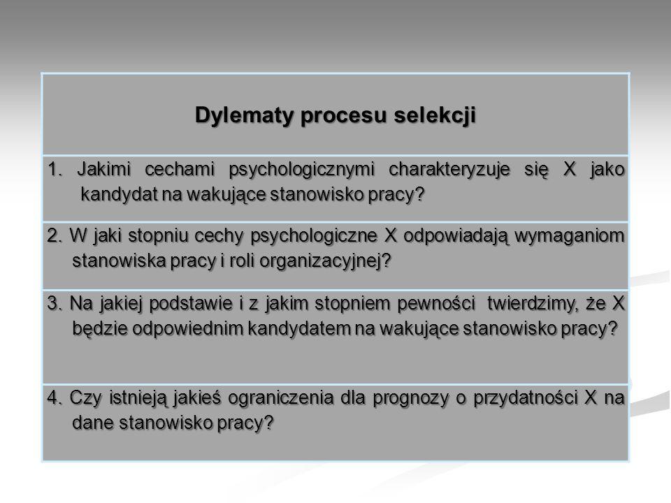 Dylematy procesu selekcji 1. Jakimi cechami psychologicznymi charakteryzuje się X jako kandydat na wakujące stanowisko pracy? 2. W jaki stopniu cechy