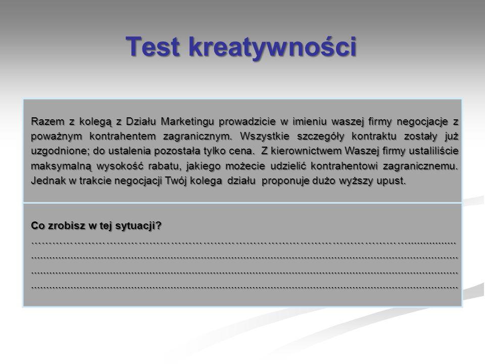 Test kreatywności Razem z kolegą z Działu Marketingu prowadzicie w imieniu waszej firmy negocjacje z poważnym kontrahentem zagranicznym. Wszystkie szc