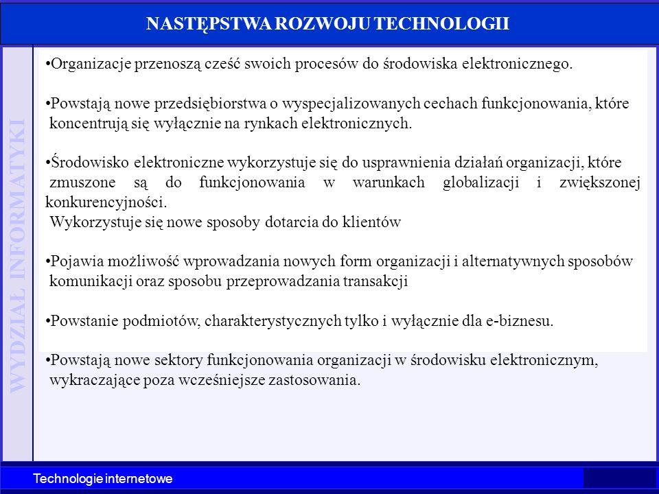 WYDZIAŁ INFORMATYKI Technologie internetowe Organizacje przenoszą cześć swoich procesów do środowiska elektronicznego. Powstają nowe przedsiębiorstwa