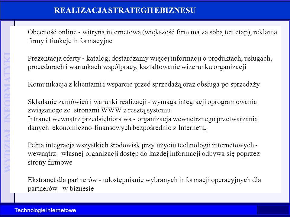 WYDZIAŁ INFORMATYKI Technologie internetowe Obecność online - witryna internetowa (większość firm ma za sobą ten etap), reklama firmy i funkcje inform