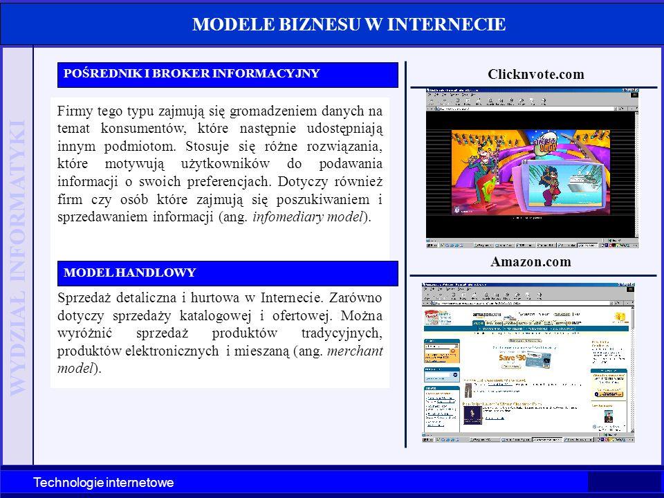WYDZIAŁ INFORMATYKI Technologie internetowe Firmy tego typu zajmują się gromadzeniem danych na temat konsumentów, które następnie udostępniają innym p