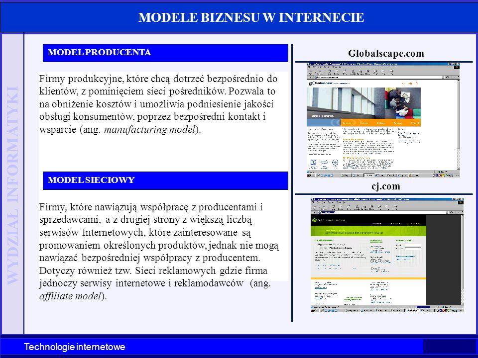 WYDZIAŁ INFORMATYKI Technologie internetowe MODELE BIZNESU W INTERNECIE Firmy produkcyjne, które chcą dotrzeć bezpośrednio do klientów, z pominięciem