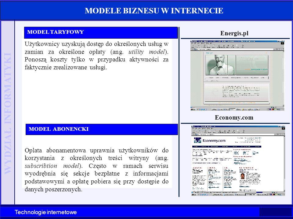 WYDZIAŁ INFORMATYKI Technologie internetowe MODELE BIZNESU W INTERNECIE Użytkownicy uzyskują dostęp do określonych usług w zamian za określone opłaty