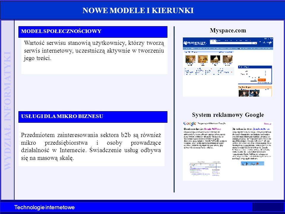 WYDZIAŁ INFORMATYKI Technologie internetowe NOWE MODELE I KIERUNKI Wartość serwisu stanowią użytkownicy, którzy tworzą serwis internetowy, uczestniczą