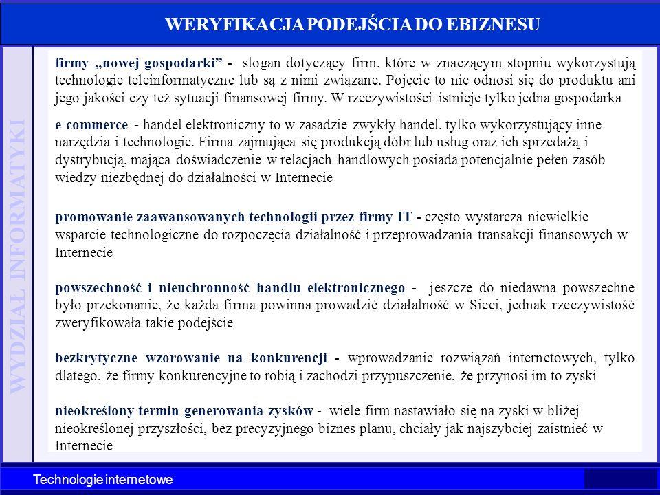 WYDZIAŁ INFORMATYKI Technologie internetowe Szczecin 2003 Technologie internetowe WERYFIKACJA PODEJŚCIA DO EBIZNESU firmy nowej gospodarki - slogan do