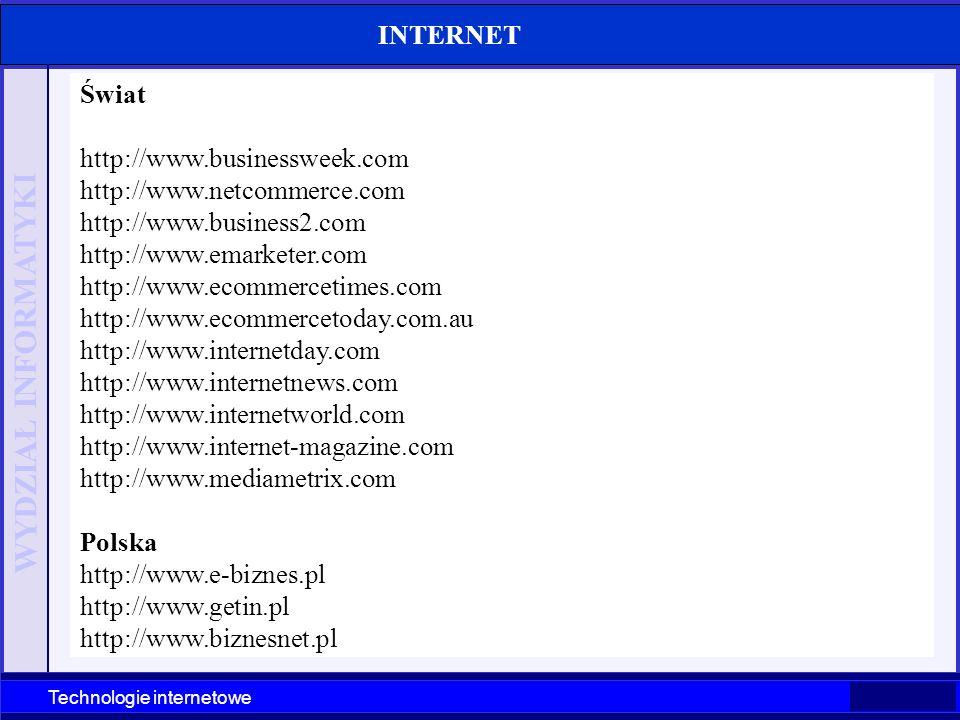 WYDZIAŁ INFORMATYKI Technologie internetowe Szczecin 2003 Technologie internetowe INTERNET Świat http://www.businessweek.com http://www.netcommerce.co
