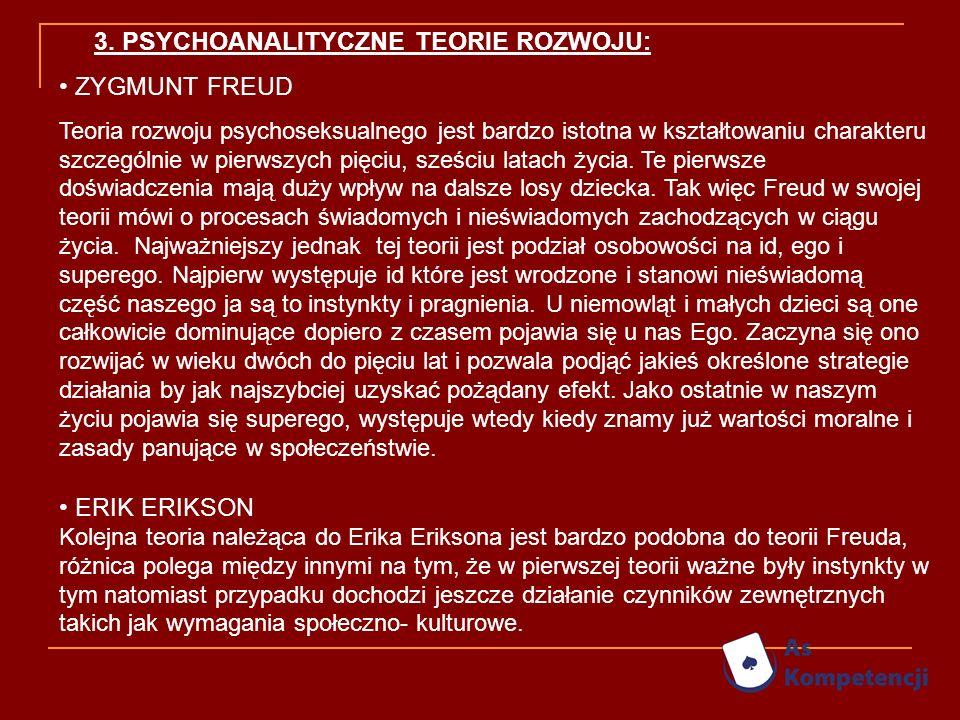 3. PSYCHOANALITYCZNE TEORIE ROZWOJU: ZYGMUNT FREUD Teoria rozwoju psychoseksualnego jest bardzo istotna w kształtowaniu charakteru szczególnie w pierw