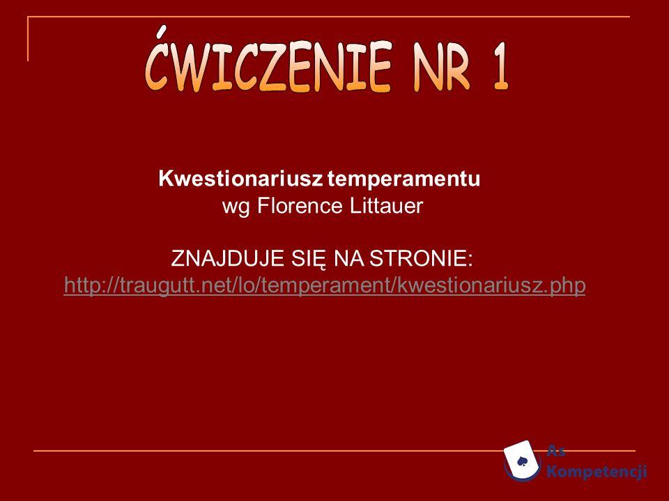 Kwestionariusz temperamentu wg Florence Littauer ZNAJDUJE SIĘ NA STRONIE: http://traugutt.net/lo/temperament/kwestionariusz.php