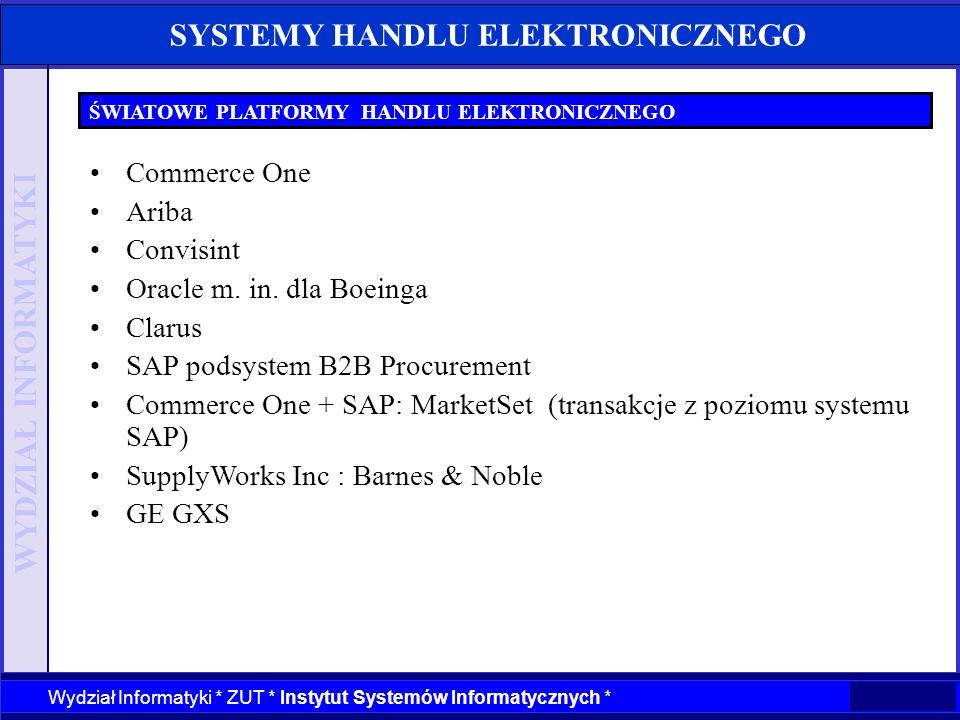 WYDZIAŁ INFORMATYKI Wydział Informatyki * ZUT * Instytut Systemów Informatycznych * SYSTEMY HANDLU ELEKTRONICZNEGO ŚWIATOWE PLATFORMY HANDLU ELEKTRONI