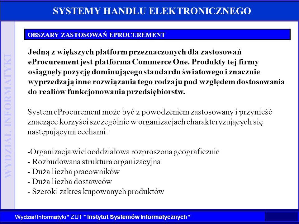 WYDZIAŁ INFORMATYKI Wydział Informatyki * ZUT * Instytut Systemów Informatycznych * SYSTEMY HANDLU ELEKTRONICZNEGO OBSZARY ZASTOSOWAŃ EPROCUREMENT Sys