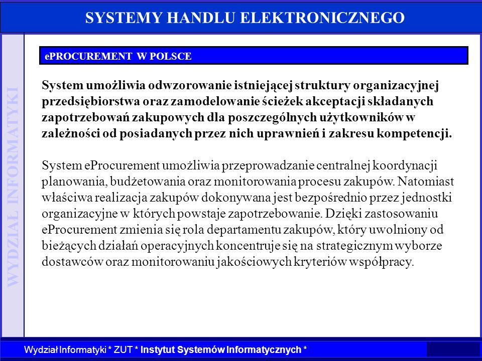 WYDZIAŁ INFORMATYKI Wydział Informatyki * ZUT * Instytut Systemów Informatycznych * SYSTEMY HANDLU ELEKTRONICZNEGO ePROCUREMENT W POLSCE System umożli