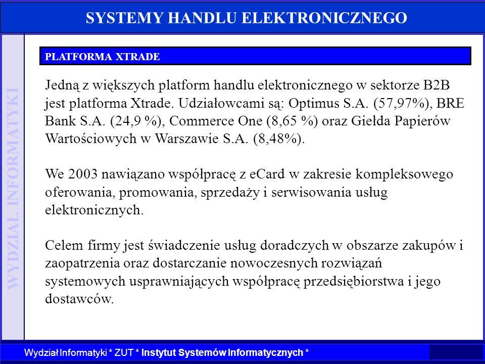 WYDZIAŁ INFORMATYKI Wydział Informatyki * ZUT * Instytut Systemów Informatycznych * SYSTEMY HANDLU ELEKTRONICZNEGO PLATFORMA XTRADE Jedną z większych