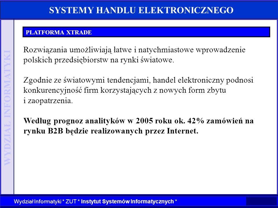 WYDZIAŁ INFORMATYKI Wydział Informatyki * ZUT * Instytut Systemów Informatycznych * SYSTEMY HANDLU ELEKTRONICZNEGO PLATFORMA XTRADE Rozwiązania umożli
