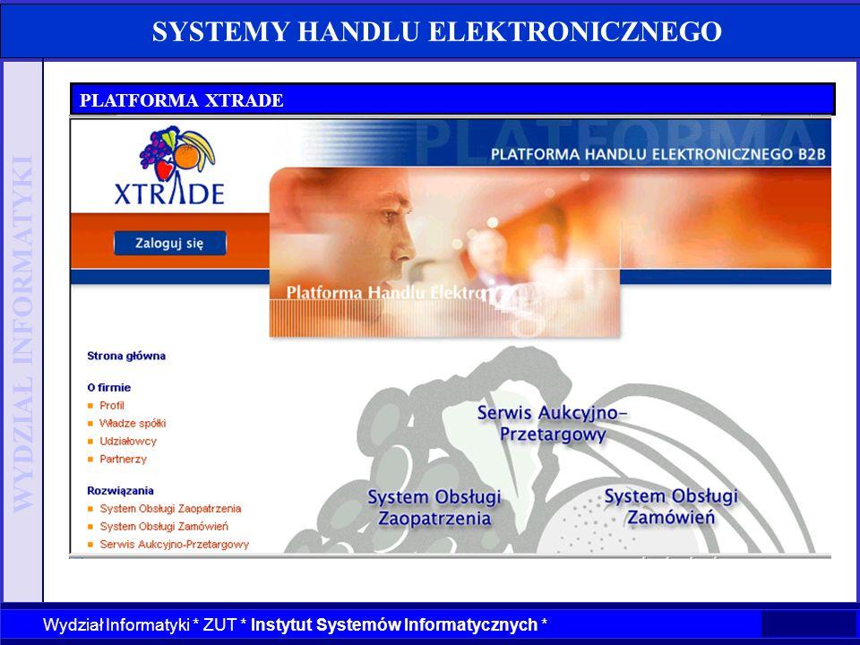 WYDZIAŁ INFORMATYKI Wydział Informatyki * ZUT * Instytut Systemów Informatycznych * SYSTEMY HANDLU ELEKTRONICZNEGO PLATFORMA XTRADE