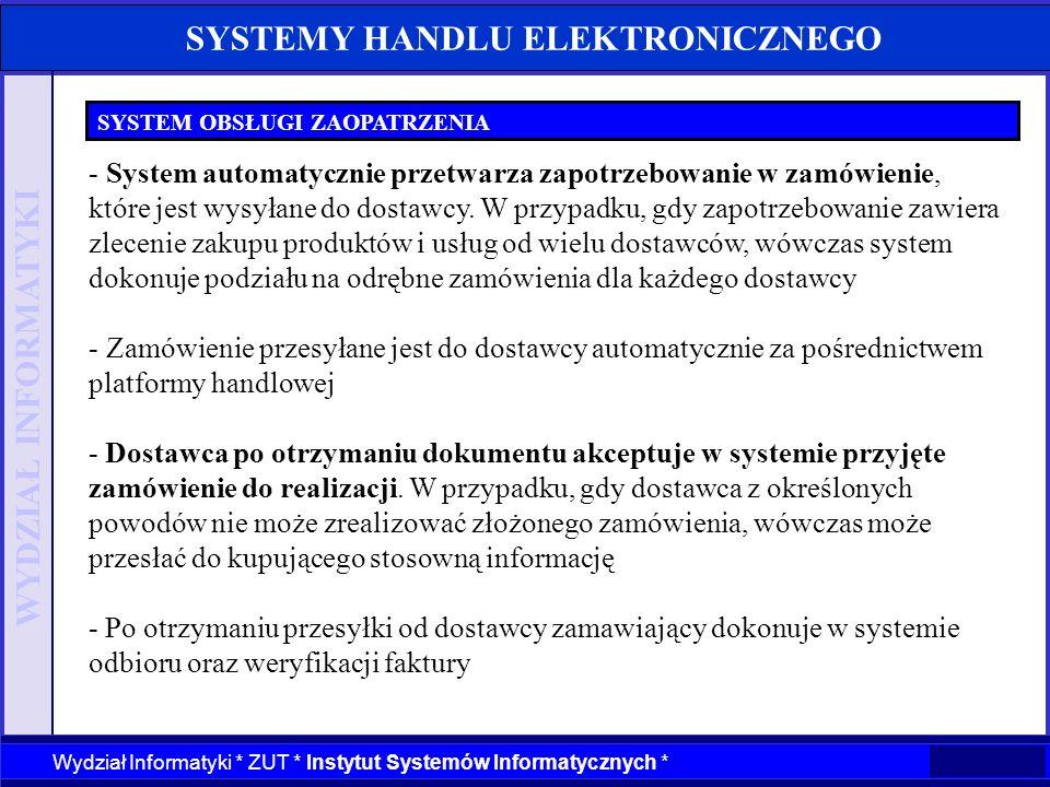 WYDZIAŁ INFORMATYKI Wydział Informatyki * ZUT * Instytut Systemów Informatycznych * SYSTEMY HANDLU ELEKTRONICZNEGO SYSTEM OBSŁUGI ZAOPATRZENIA - Syste
