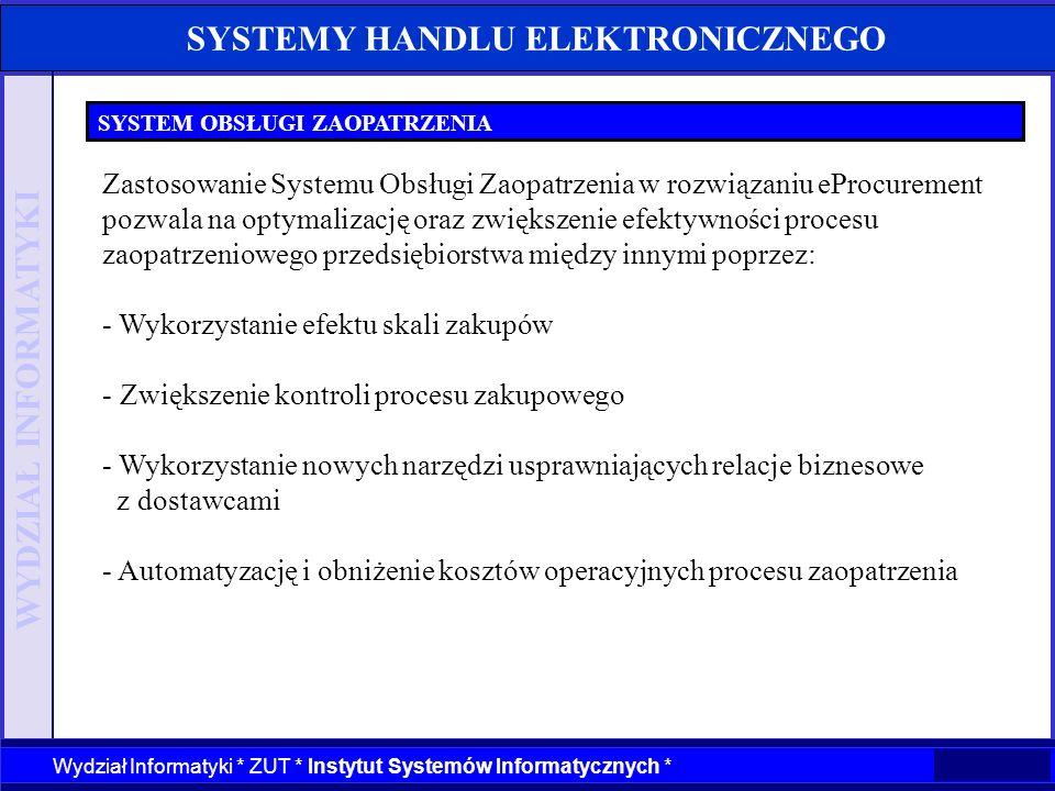 WYDZIAŁ INFORMATYKI Wydział Informatyki * ZUT * Instytut Systemów Informatycznych * SYSTEMY HANDLU ELEKTRONICZNEGO SYSTEM OBSŁUGI ZAOPATRZENIA Zastoso