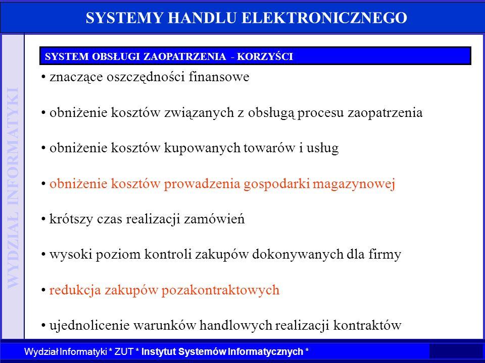 WYDZIAŁ INFORMATYKI Wydział Informatyki * ZUT * Instytut Systemów Informatycznych * SYSTEMY HANDLU ELEKTRONICZNEGO SYSTEM OBSŁUGI ZAOPATRZENIA - KORZY