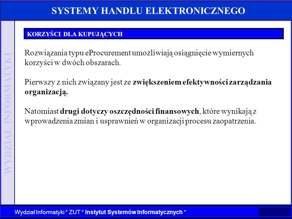 WYDZIAŁ INFORMATYKI Wydział Informatyki * ZUT * Instytut Systemów Informatycznych * SYSTEMY HANDLU ELEKTRONICZNEGO KORZYŚCI DLA KUPUJĄCYCH Rozwiązania