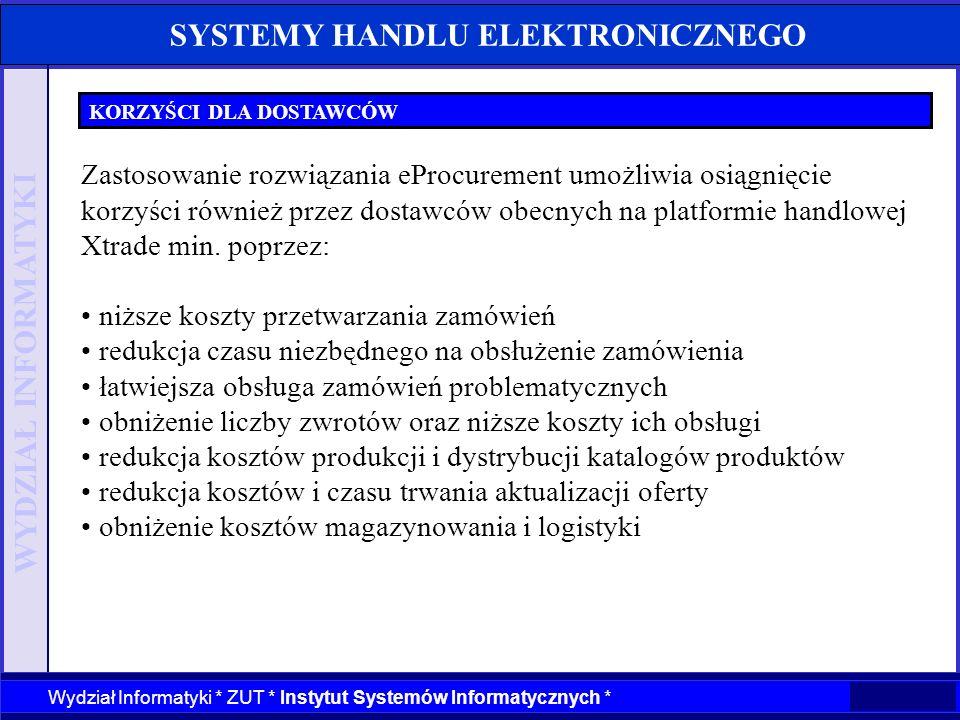 WYDZIAŁ INFORMATYKI Wydział Informatyki * ZUT * Instytut Systemów Informatycznych * SYSTEMY HANDLU ELEKTRONICZNEGO KORZYŚCI DLA KUPUJĄCYCH Zastosowani