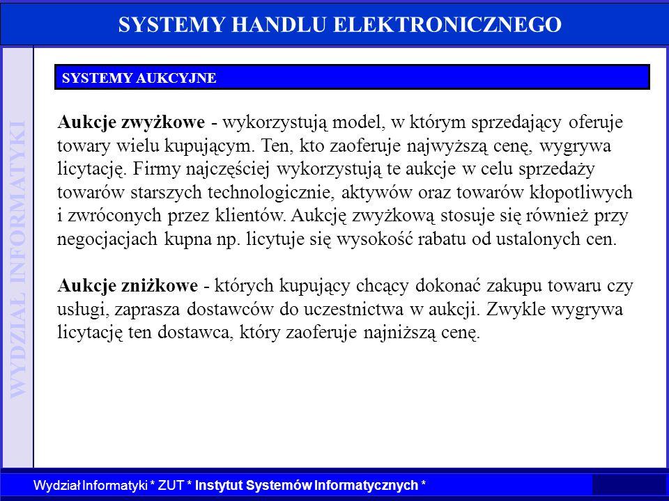 WYDZIAŁ INFORMATYKI Wydział Informatyki * ZUT * Instytut Systemów Informatycznych * SYSTEMY HANDLU ELEKTRONICZNEGO SYSTEMY AUKCYJNE Aukcje zwyżkowe -