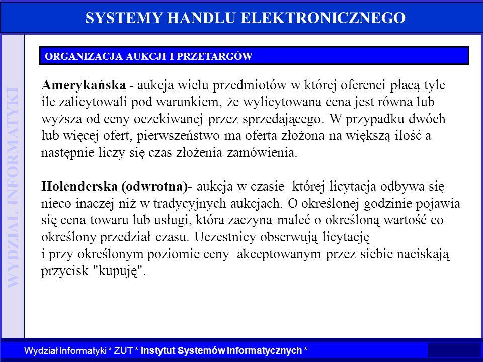 WYDZIAŁ INFORMATYKI Wydział Informatyki * ZUT * Instytut Systemów Informatycznych * SYSTEMY HANDLU ELEKTRONICZNEGO ORGANIZACJA AUKCJI I PRZETARGÓW Ame