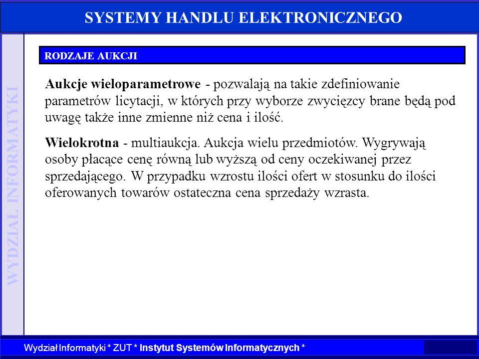 WYDZIAŁ INFORMATYKI Wydział Informatyki * ZUT * Instytut Systemów Informatycznych * SYSTEMY HANDLU ELEKTRONICZNEGO RODZAJE AUKCJI Aukcje wieloparametr