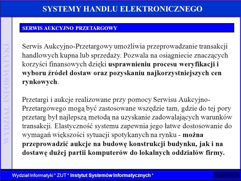 WYDZIAŁ INFORMATYKI Wydział Informatyki * ZUT * Instytut Systemów Informatycznych * SYSTEMY HANDLU ELEKTRONICZNEGO SERWIS AUKCYJNO PRZETARGOWY Serwis