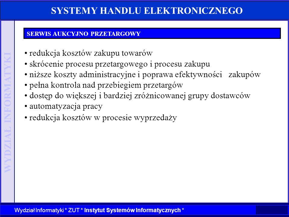 WYDZIAŁ INFORMATYKI Wydział Informatyki * ZUT * Instytut Systemów Informatycznych * SYSTEMY HANDLU ELEKTRONICZNEGO SERWIS AUKCYJNO PRZETARGOWY redukcj