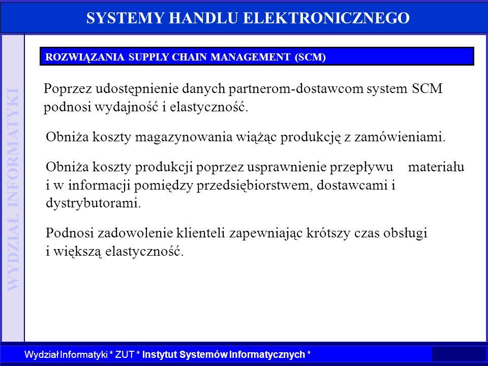 WYDZIAŁ INFORMATYKI Wydział Informatyki * ZUT * Instytut Systemów Informatycznych * SYSTEMY HANDLU ELEKTRONICZNEGO ROZWIĄZANIA SUPPLY CHAIN MANAGEMENT