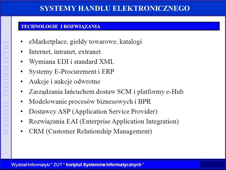 WYDZIAŁ INFORMATYKI Wydział Informatyki * ZUT * Instytut Systemów Informatycznych * SYSTEMY HANDLU ELEKTRONICZNEGO TECHNOLOGIE I ROZWIĄZANIA eMarketpl