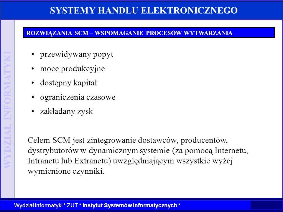 WYDZIAŁ INFORMATYKI Wydział Informatyki * ZUT * Instytut Systemów Informatycznych * SYSTEMY HANDLU ELEKTRONICZNEGO ROZWIĄZANIA SCM – WSPOMAGANIE PROCE