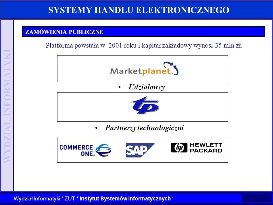WYDZIAŁ INFORMATYKI Wydział Informatyki * ZUT * Instytut Systemów Informatycznych * SYSTEMY HANDLU ELEKTRONICZNEGO ZAMÓWIENIA PUBLICZNE Partnerzy tech