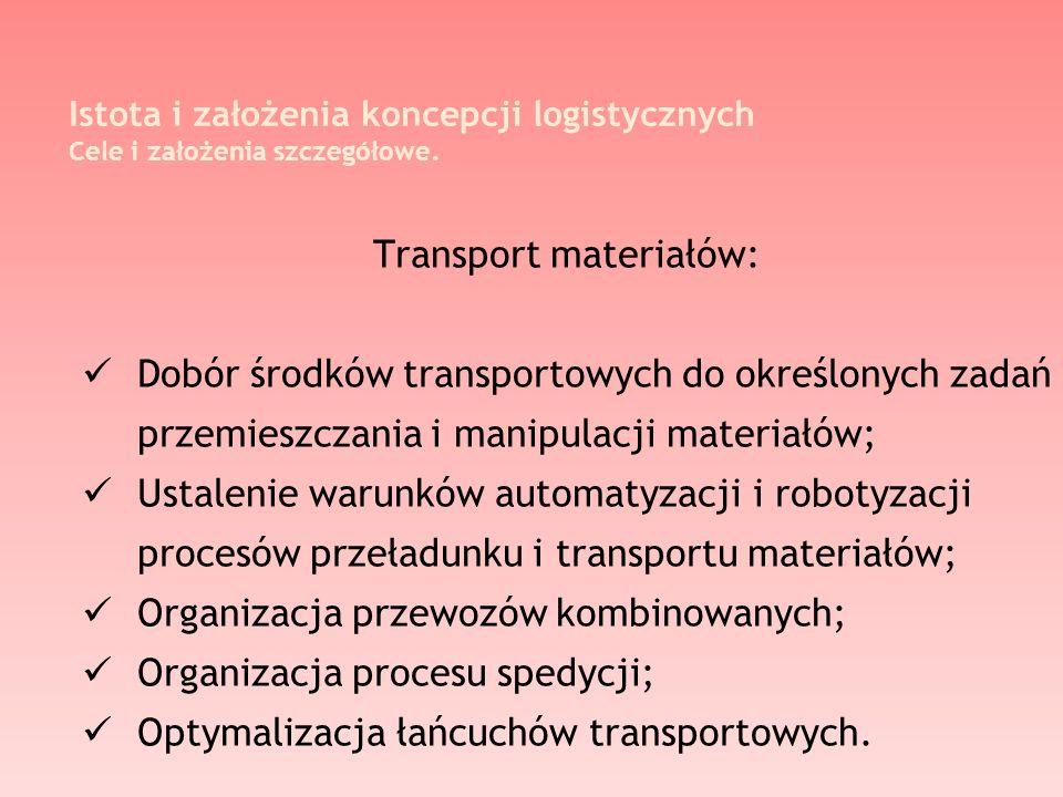 Istota i założenia koncepcji logistycznych Cele i założenia szczegółowe. Transport materiałów: Dobór środków transportowych do określonych zadań przem