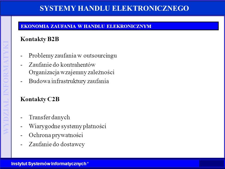 WYDZIAŁ INFORMATYKI Instytut Systemów Informatycznych * SYSTEMY HANDLU ELEKTRONICZNEGO EKONOMIA ZAUFANIA W HANDLU ELEKRONICZNYM Kontakty B2B -Problemy