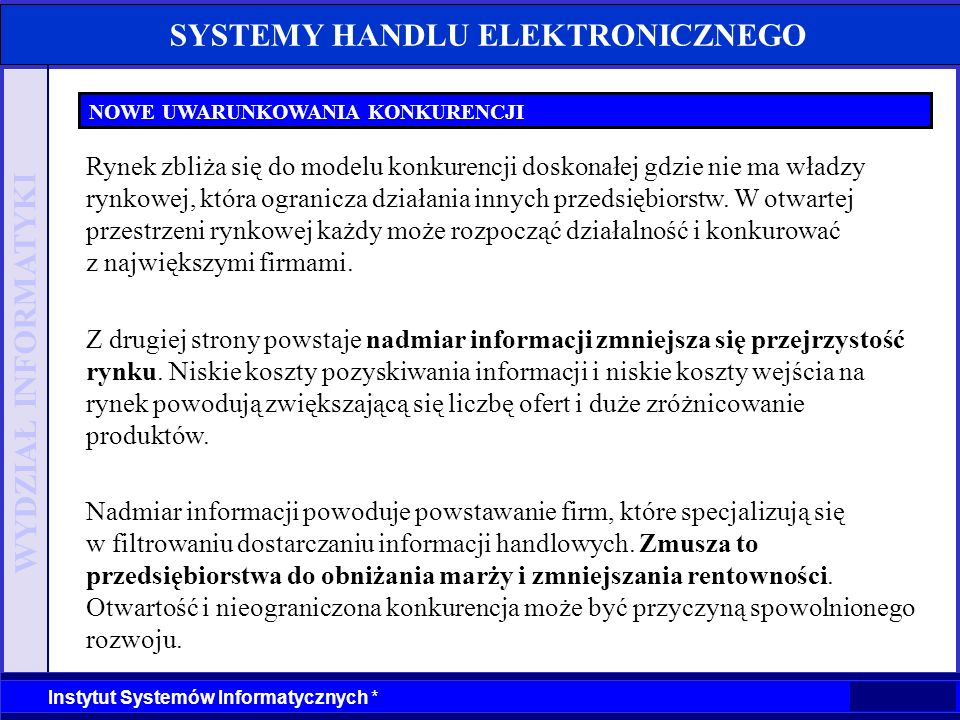 WYDZIAŁ INFORMATYKI Instytut Systemów Informatycznych * SYSTEMY HANDLU ELEKTRONICZNEGO NOWE UWARUNKOWANIA KONKURENCJI Rynek zbliża się do modelu konku
