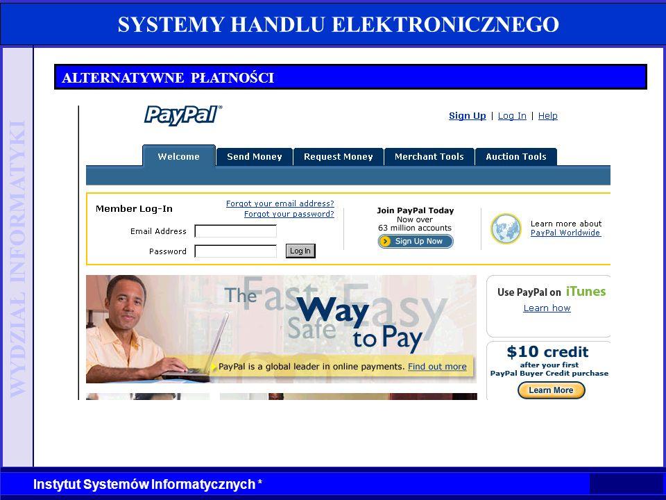 WYDZIAŁ INFORMATYKI Instytut Systemów Informatycznych * SYSTEMY HANDLU ELEKTRONICZNEGO ALTERNATYWNE PŁATNOŚCI