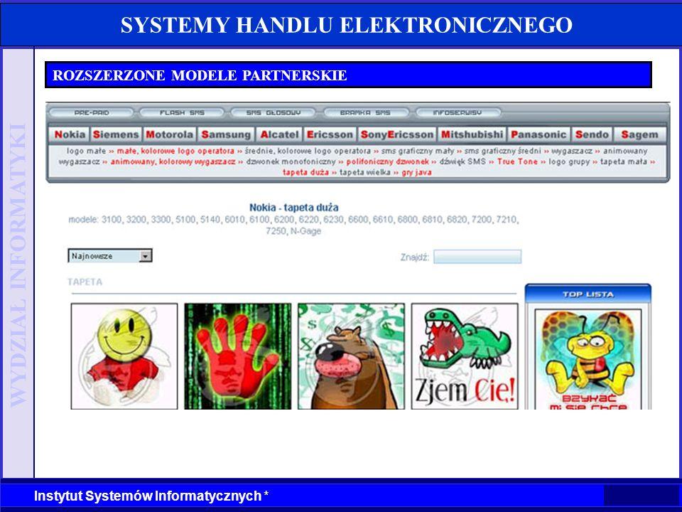 WYDZIAŁ INFORMATYKI Instytut Systemów Informatycznych * SYSTEMY HANDLU ELEKTRONICZNEGO ROZSZERZONE MODELE PARTNERSKIE