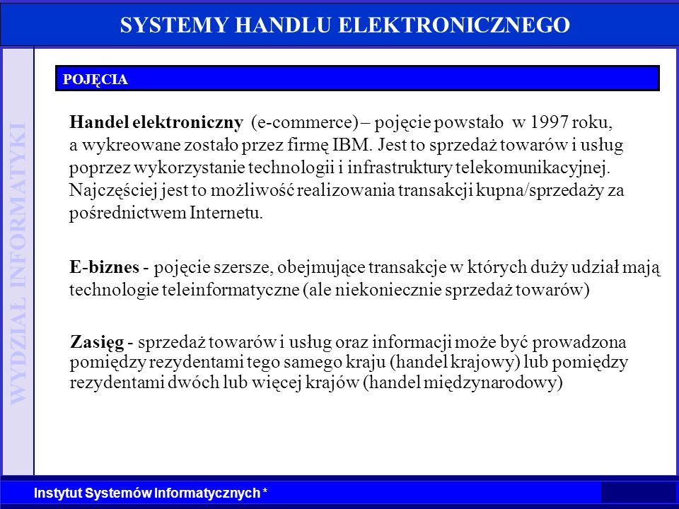 WYDZIAŁ INFORMATYKI Instytut Systemów Informatycznych * SYSTEMY HANDLU ELEKTRONICZNEGO KWALIFIKACJA DZIAŁALNOŚCI Zakwalifikowanie handlu z wykorzystaniem Internetu, usług finansowych, lub marketingu do handlu elektronicznego lub biznesu elektronicznego nie jest jednoznaczne.