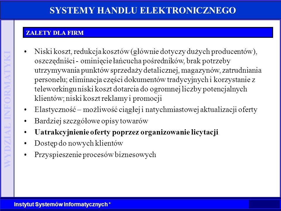 WYDZIAŁ INFORMATYKI Instytut Systemów Informatycznych * SYSTEMY HANDLU ELEKTRONICZNEGO ZALETY DLA FIRM Niski koszt, redukcja kosztów (głównie dotyczy