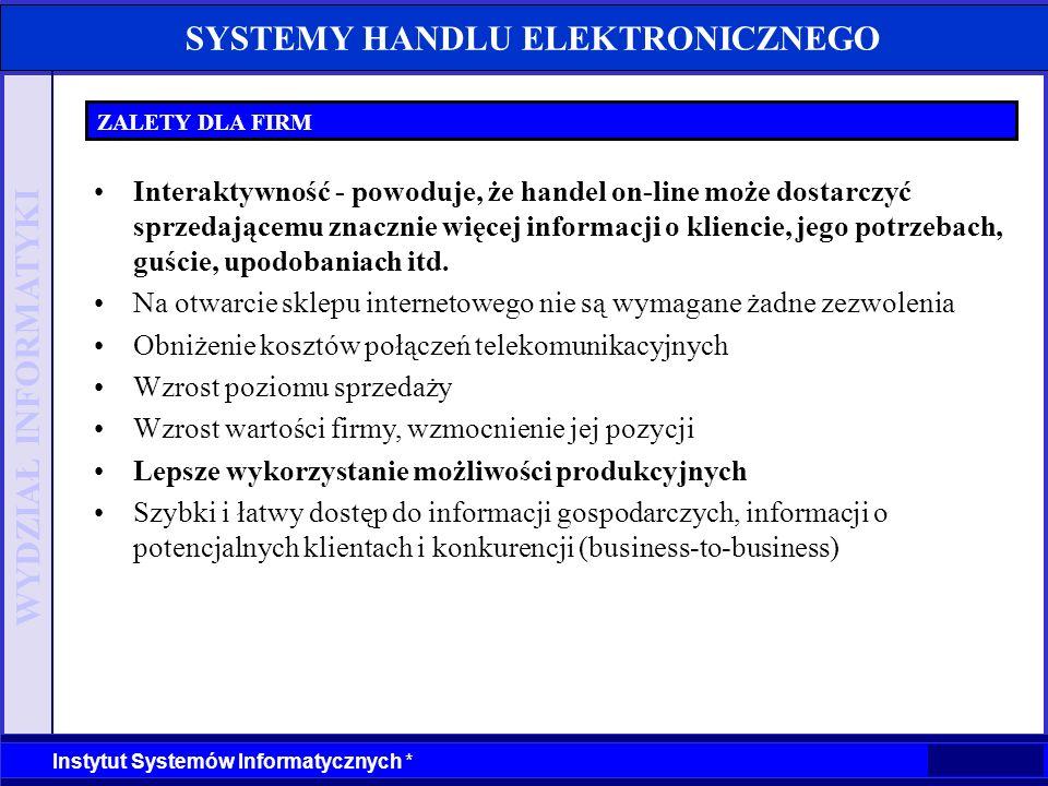 WYDZIAŁ INFORMATYKI Instytut Systemów Informatycznych * SYSTEMY HANDLU ELEKTRONICZNEGO ZALETY DLA FIRM Interaktywność - powoduje, że handel on-line mo
