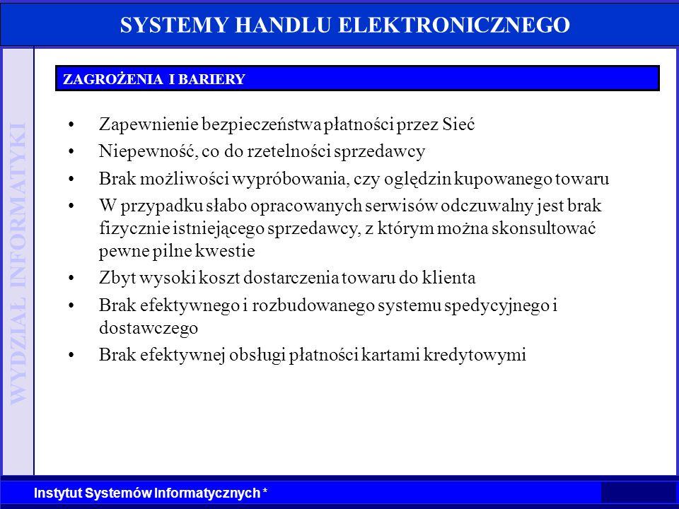 WYDZIAŁ INFORMATYKI Instytut Systemów Informatycznych * SYSTEMY HANDLU ELEKTRONICZNEGO ZAGROŻENIA I BARIERY Zapewnienie bezpieczeństwa płatności przez